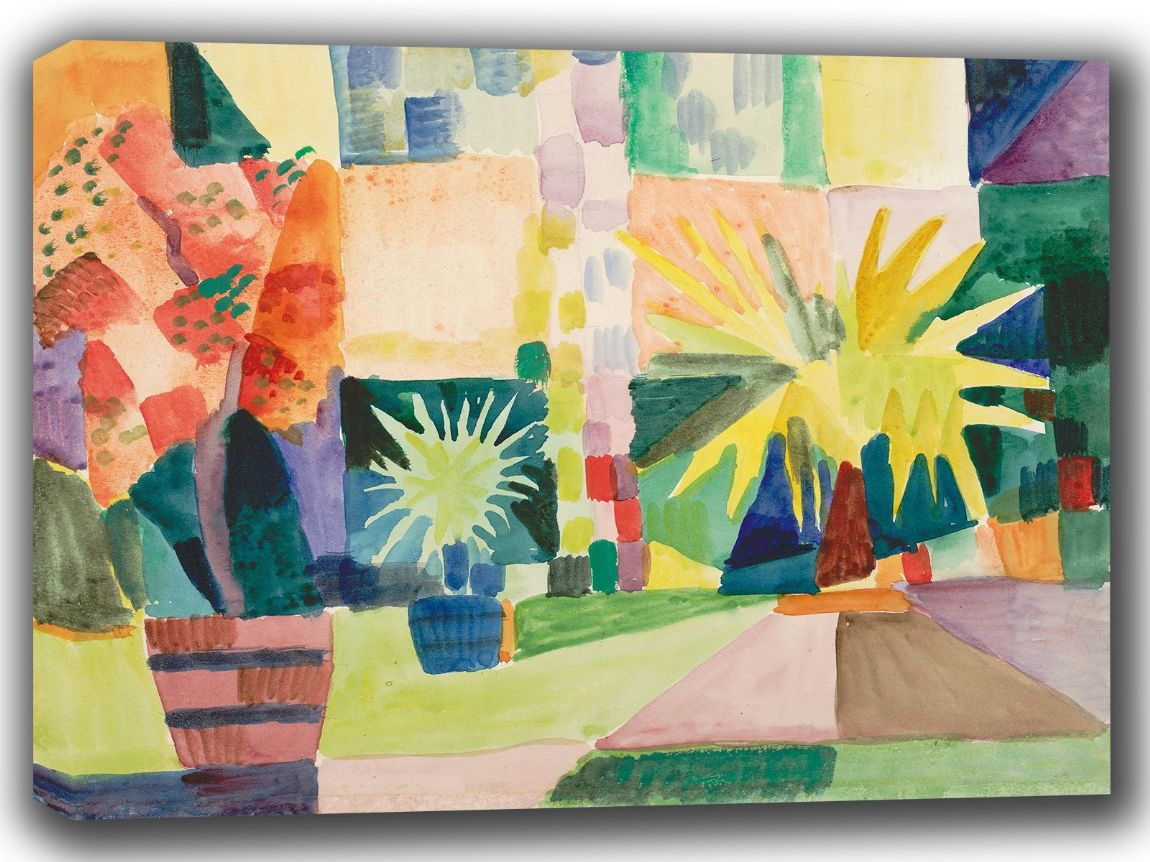 Macke, August: Garden on Lake Thun (Pomegranate Tree and Palm in the Garden). Fine Art Canvas. Sizes: A4/A3/A2/A1 (002179)